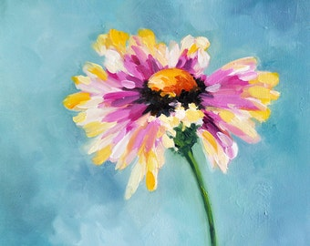 Original Impressionist Floral Painting, Daisy Flower Art, Pink Daisy 16x16 Inch