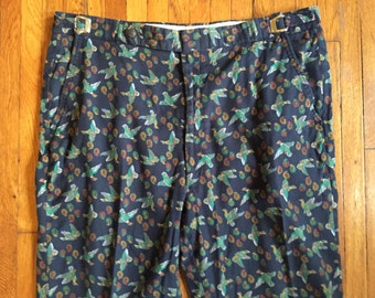 Vintage 80s Paisley Duck Print Pants