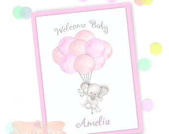 Personalized Baby Card - New Baby Girl, Welcome baby, Baby Elephant Card