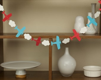 Airplane Party Garland, Baby Shower, First Birthday,  (One Strand)