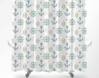 Nautical Shower Curtain, Nautical Bathroom Decor, Kids Bathroom Decor, Kids Bathroom Shower Curtain, Nautical Pattern, Anchor Shower Curtain