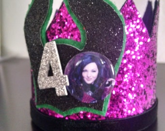 Descendants Mal Birthday Crown Headband Large Smash cake. Birthday crown party Evie Descendants disney Headband  photo prop CUSTOMIZE