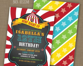 INSTANT DOWNLOAD! Printable // Editable // Carnival Party Invitation // Circus Party Invitation // PDF