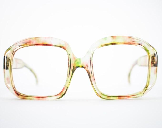 Vintage 70s Glasses | Oversized Clear Rainbow Eyeglass Frame | NOS Square 1970s Eyeglasses | Deadstock Eyewear - Debie Rainbow
