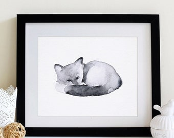 "Watercolour Fox Painting PRINT - Signed Watercolour Fox Giclee Print from Original Animal Painting - Gift - Nursery Art - 5x5"" or 5x7"""