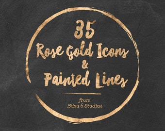 35 Rose Gold Icons & Painted Lines - Digital Scrapbook and Web Graphics