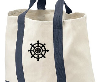 Monogrammed Tote Bag, Gift Beach Bag, Stearing Wheel, Personalzed Tote, Birthday Gift Bag, Bridal Shower Tote Gift