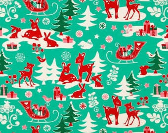 Michael Miller - Holiday Yule Critters Aqua - Cotton Woven Fabric