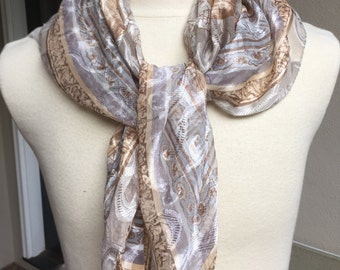 Vintage Scarf Grays and Browns Grecian Urns  LIZ CLAIBORNE Ladies Accessory
