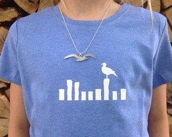 "girls t-shirt + necklace ""seagulls"""