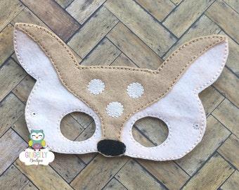 Deer Mask, Kids Dress Up Mask, Deer Costume Mask, Wool Blend Mask, Felt Deer Mask, Jungle Party Favor, Monkey Mask