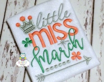 Little Miss March Shirt or Bodysuit, Girl St Patricks Day, Girl Shamrock Shirt, Girl St Patty's Day Shirt, Little miss Shirt