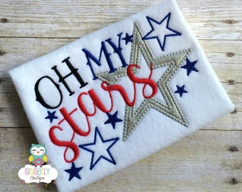 Oh My Stars Patriotic/4th of July Shirt or Bodysuit, Independence Day, Fireworks, Girl 4th of July, 4th of July Parade