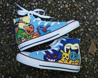 Handpainted Pokemon Converse Shoes