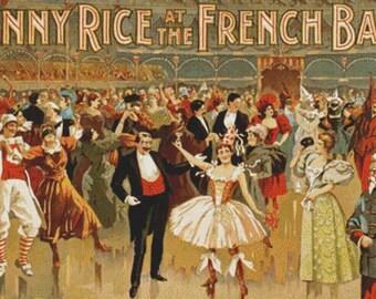 Vintage French Ball Poster PDF Cross Stitch Pattern