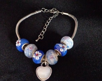 Valentines Bracelet,European Charm Bracelet, European Heart Charm Bracelet, Valentines Bracelet