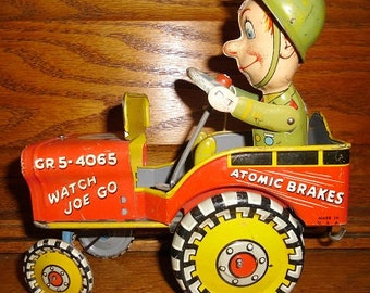 Vintage Tin Wind-Up Toy GI Joe and His Jouncing Jeep