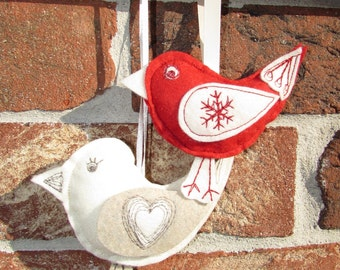 Felt Christmas decorations, Felt birds, Christmas decorations, Christmas ornaments