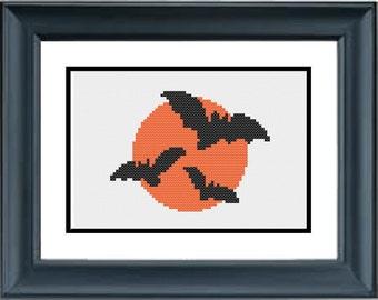 Flying Bats - Halloween Cross Stitch Pattern - PDF Cross-Stitch Pattern
