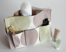 Light Pastel Cotton Storage Bag, Cosmetic Organizer, Six Pocket Tissue Box, Makeup Organizer Bag, Green Beige Brown, Napkin holder