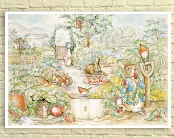 Classic Beatrix Potter Wall Art, Beatrix Potter Art Print, Peter Rabbit Print, Beatrix Potter Nursery, Peter Rabbit Garden, Children's Art.