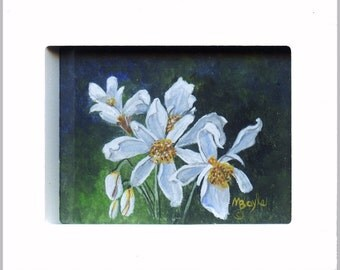 MINIATURE ART - ORIGINAL; acrylic on 140 lb watercolor paper, floral, white wood frame, 3.5 x 4.5 inches,