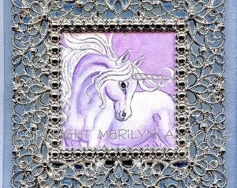 HAND PAINTED WATERCOLOR; Unicorn, miniature art, fantasy, pink and mauve color, silver ribbon, silver filigree frame, for her, home decor