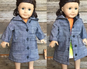 18 Inch Doll, Long Jacket with Pockets, hood, pleated at back, bow on back