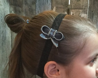 Zipper Bow Headband - dark gray
