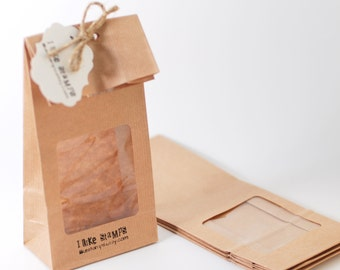 Brown paper bags, Favor bags with window, Flat back bags, kraftpaper gift bags, food packaging with square window, 10x5.5x25 mm/4x2.2x8 in