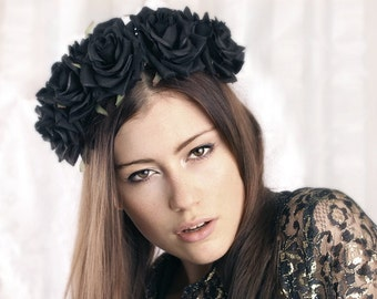 Hairband black roses halloween