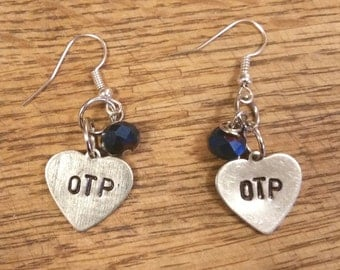 OTP hand stamped earrings