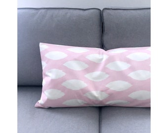 Cushion cover 40 x 60 cm Pink White CHIPPER Ikatmuster