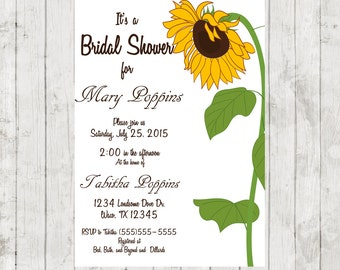 DIY Bridal Shower Invitation Country Theme Wedding Sunflower Outdoors Theme Wedding Wedding Shower Printable Digital Download JPEG File