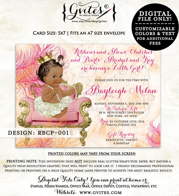 African American baby shower invitations, orange, pink, ivory, cream gold, tea time princess baby girl shower invitation, ethnic printables.