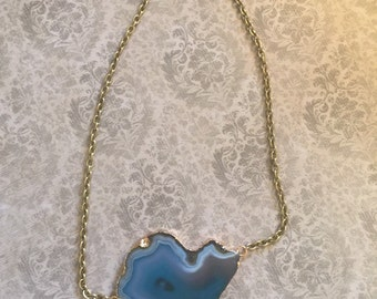 Blue and Brown Agate Druzy Large Pendant and Brass 16 Inch Necklace