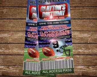 FootBall Birthday Party Ticket Invitations, Boys Birthday, Football Invitations