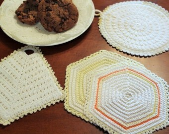 Very VintageSoft Yellows, Cream and White Crochet Pot Holder with Trivet Pairs -Linen-Cottage-Wedding-Kitchen