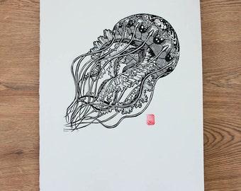 Jellyfish Lino Cut / Block Print