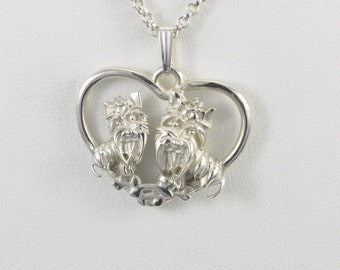 Sterling Silver Yorkie Necklace fr Donna Pizarro's fr Animal Whimsey Collection of Sterling Silver Yorkshire Terrier Jewelry