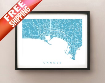Cannes, France Map Print
