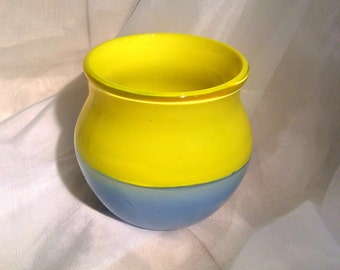 "Glass Art Bowl ""Fog and Sun"".  Hand Blown Glass Incalmo Bowl.  Yellow and Blue Glass Bowl."