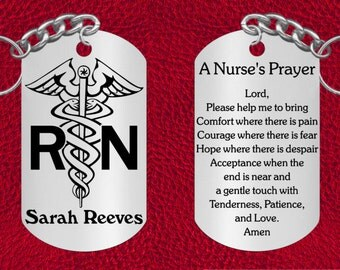 Personalized NURSE Steel Keychain with Nurse's Prayer, Laser Engraved Gift
