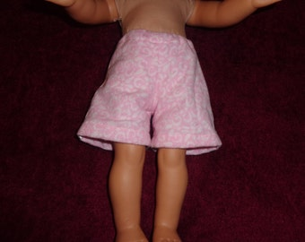 "Pink Flannel lounging shorts for 18"" dolls like American Girl or Our Generation or similar sized dolls"