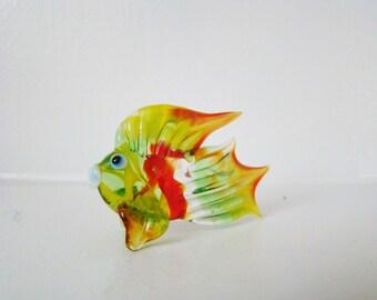 Green Red Yellow Collectibles Rainbow Angel Fish, Rare Art Glass fish miniature, Murano Glass Fish, Lampwork Glass Art Fish