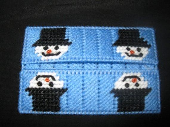 Plastic canvas snowman mini tissue cover for Snowman pocket tissues