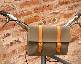 Green Safari cotton canvas and leather bicycle bag/ bicycle handlebar/ shoulder bag/ bicycle accessories/ cross body bag