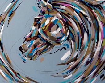 Art print Horse Painting, Acrylic Painting on canvas, Art gallery, Fine Art, original art, I am Powerful, I am not afraid
