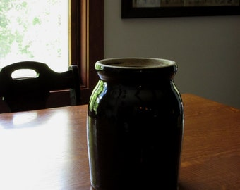 Vintage Stoneware, Earthenware Crock, Pickle Jar, Canning, Primitive Pottery, Glazed Brown Crockery, Rustic Farmhouse Decor, Old Fashioned
