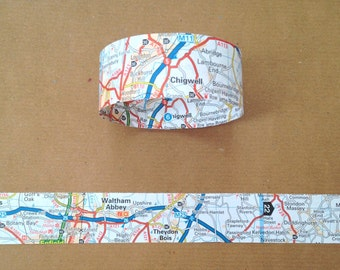 Paper Chain Garland Decoration - British Road Map/Travel/Journey/Holiday - 8ft
